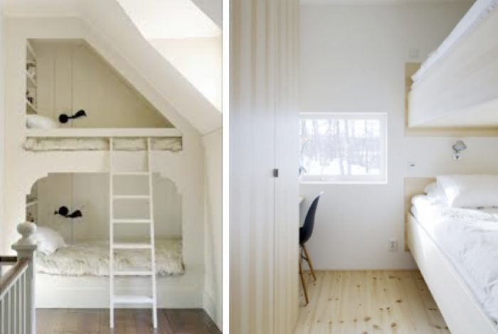 white painted bunk bed under roof eaves, modern built-in bunks in Swedish ski cabin