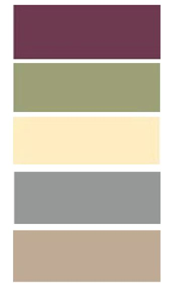 Homemade color palette - Purple/Burgundy (Rug, Curtains, Borders), Olive Green (Kitchen & Small bathroom), Light yellow (Big bathroom & Laundry room) Gray (Both mudrooms) & Tan (Living Room).
