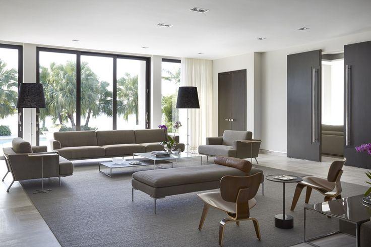 Modern Taupe & Olive Living Room - ELLEDecor.com
