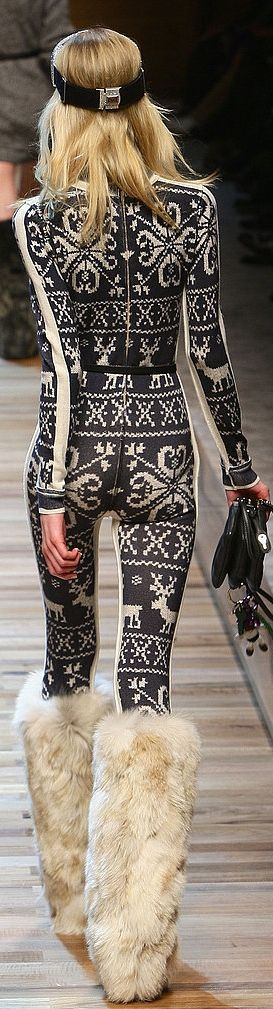 Love the ski suit, hate the Sonny and Cher boots and underfed model. Dolce & Gabbana Apres Ski. This is absolutely gorgeous!