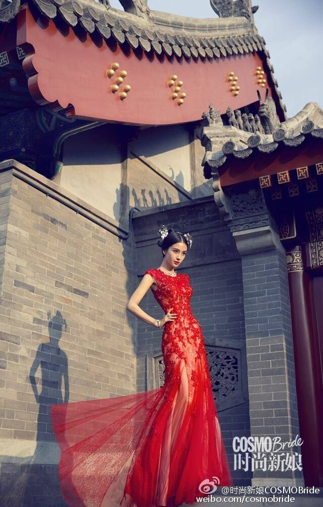 Beautiful pairing of this gorgeous ‪red wedding‬ gown with a modern take on traditional Chinese bridal hair accessories as seen on Angelababy for COSMOBride.