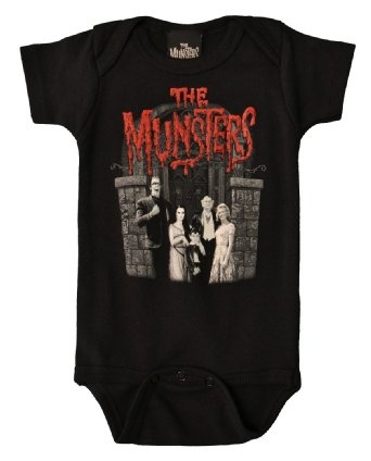 The Munsters Family Love Baby Onesie By Rock Rebel Black: Clothing Gets the Gothlings.co.uk seal of approval