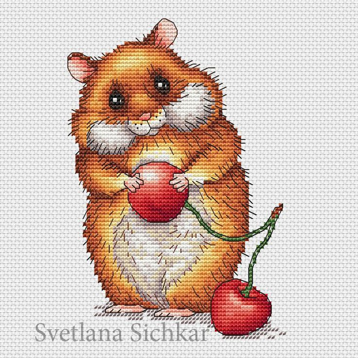 "Cross stitch design ""Hamster"" #sa_stitch #sa_pattern #pattern"