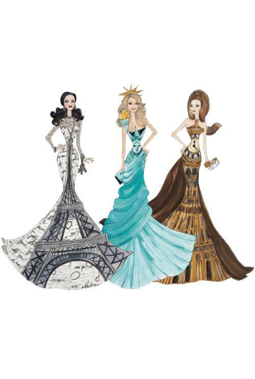 Holy awesomeness!!: Paris, Fashion Sketches, Fashion Drawing, Dresses, Fashion Illustration, Statues Of Liberty, New York, Big Ben, Bigben