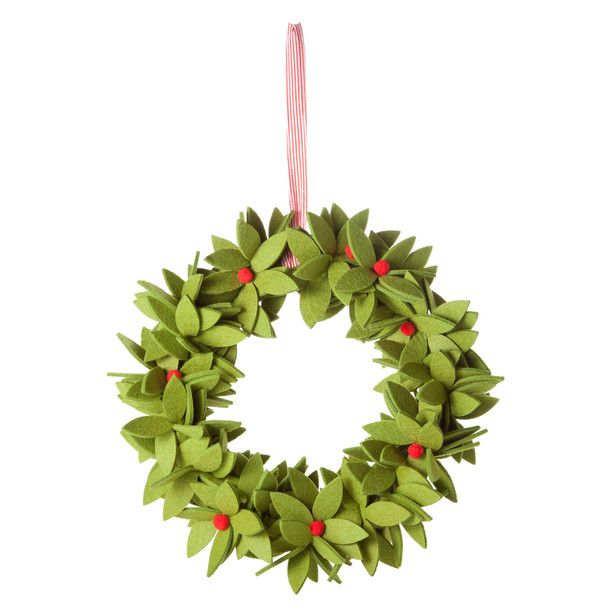 I can't believe I am pinning Christmas decorations already!  However, if I am to find the time to make a few, I may as well start now.  November is close enough to December, right??  This super cute felt wreath shouldn't be too difficult a task to tackle.  I invite the challenge!