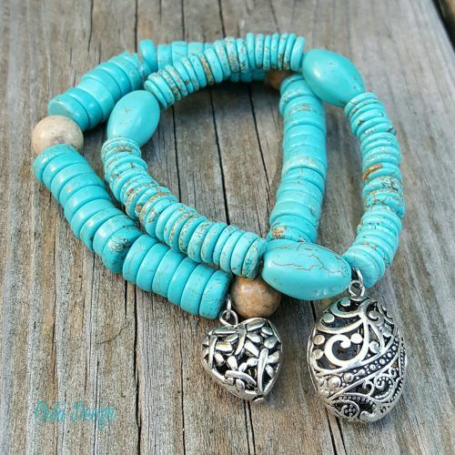 Natural Stone Bracelet with Turquoise & Jade Stones & Silver-Plated Charms - Chiki Custom made unique jewelry Chiki Design