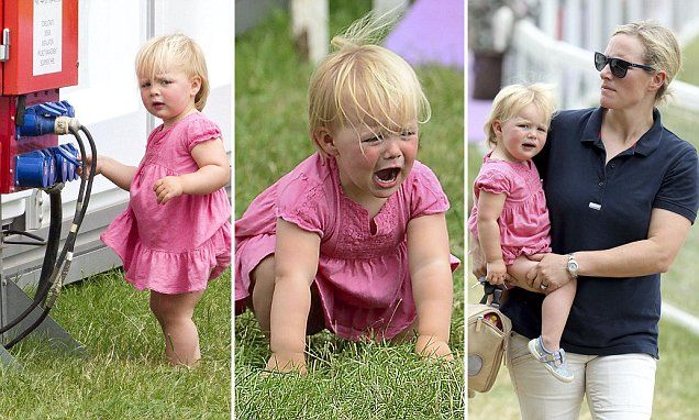 Mia Tindall began crying and stamping her feet as her mother Zara, 34, pulled her away from an electric generator during the Festival of British Eventing, Gloucestershire.