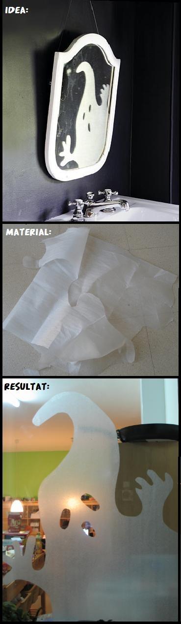 Una aparició etèria!  Idea/inspiration: http://www.marthastewart.com/272544/ghost-in-the-mirror  Material: espuma de polietileno (com la que serveix per protegir els mobles en kit)  Per enganxar/To glue: cola de barra(glue stick) o cola blanca