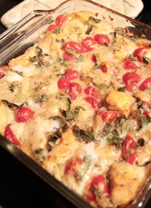 tomato-basil bread pudding-bread, olive oil, shallots, garlic, tomatoes, salt, basil, parmesan
