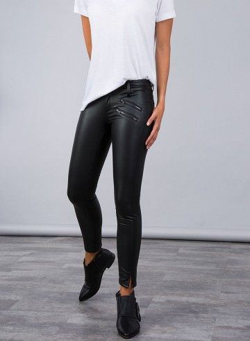 Synthetic leather biker jeggings