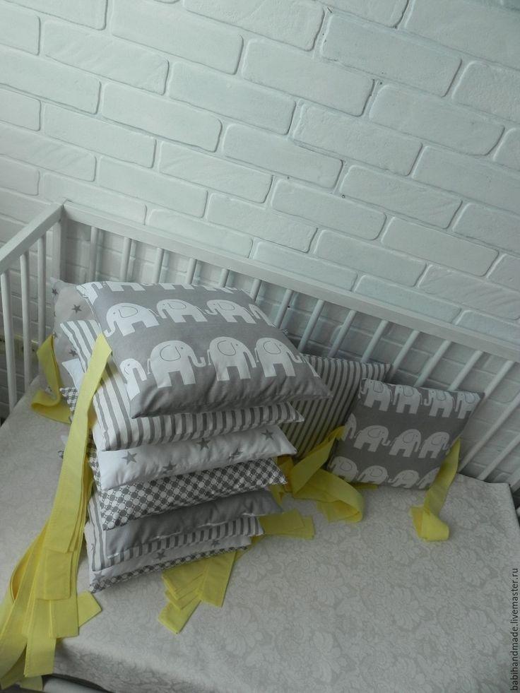 Купить Бортики-подушки в кроватку - серый, бортики в кроватку, бортики-подушки, бортики для новорожденных