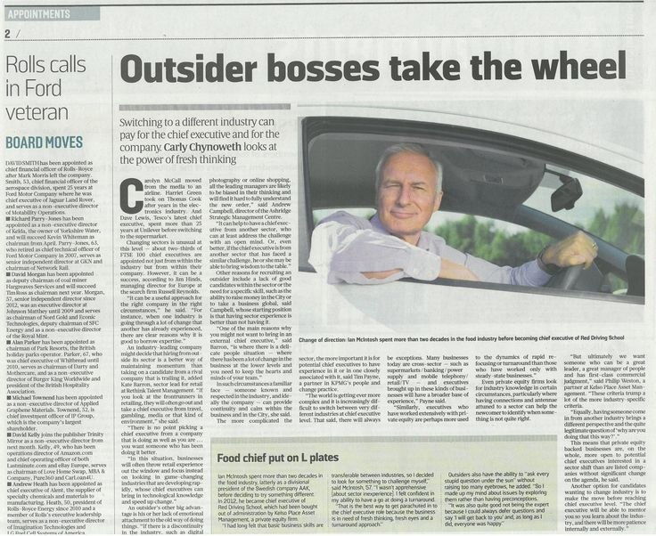 Ian McIntosh, CEO of RED Driving School, speaks to The Sunday Times about outsider bosses taking the wheel