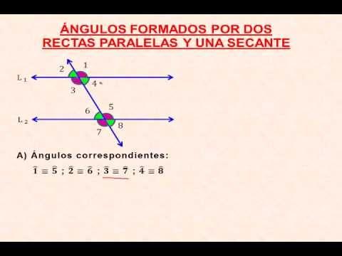 ANGULOS FORMADOS POR DOS RECTAS PARALELAS Y UNA SECANTE - YouTube