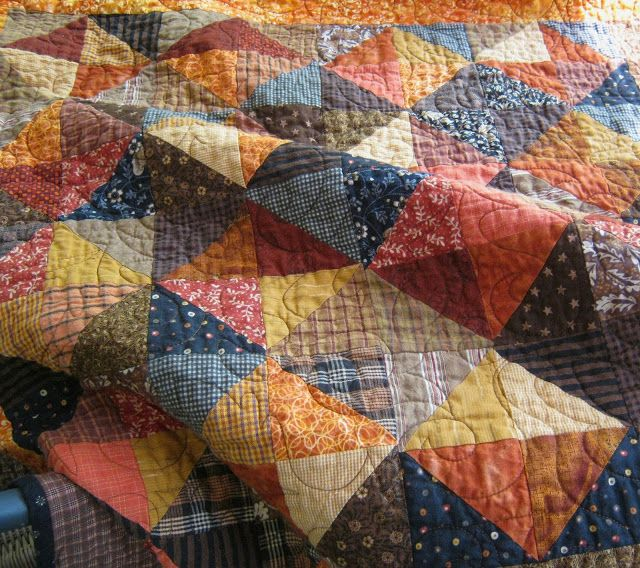 laugh yourself into Stitches*: Pumpkin Spice Pattern for only $5! Pumpkin Spice is made from scraps into half square triangles  ...but the method used makes piecing this quilt easy as Pumpkin pie!   No bias or loose triangles to piece!