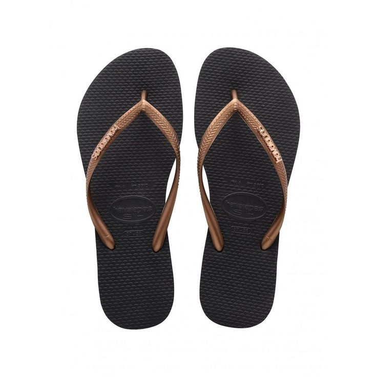 Havaianas Slim Logo Metallic Ladies Flipflops - Black Copper