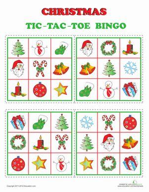 Kindergarten Holidays & Seasons Worksheets: Christmas Bingo