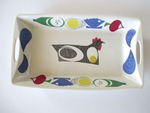Vintage-Figgjo-Flint-Flameware-Casserole-Dish-Serving-Platter-Norway-Chicken-Egg
