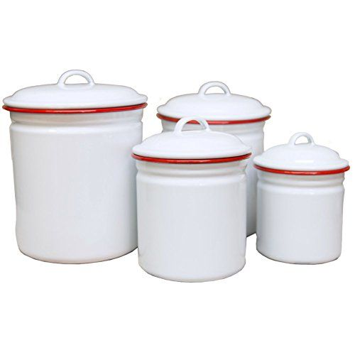 kitchen canisters white enamelware 4 canister set solid white with 12973