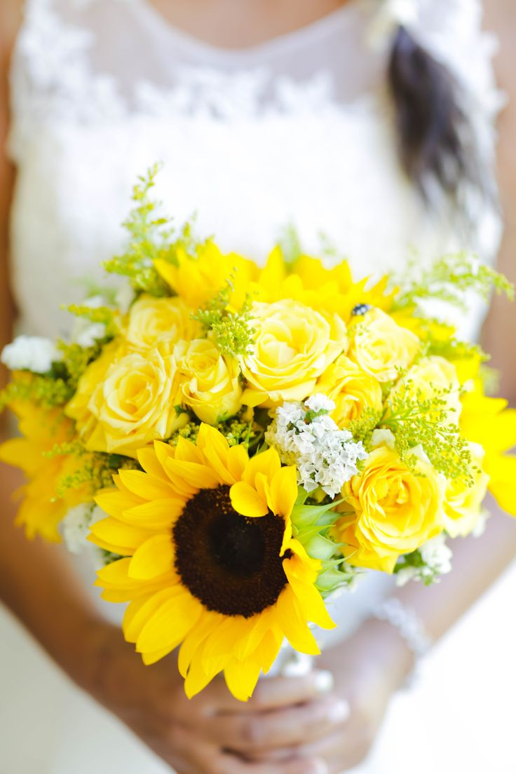 Sunflowers, Goldstrike roses and golden rod bouquet. Thanks to Miss Cee Photography