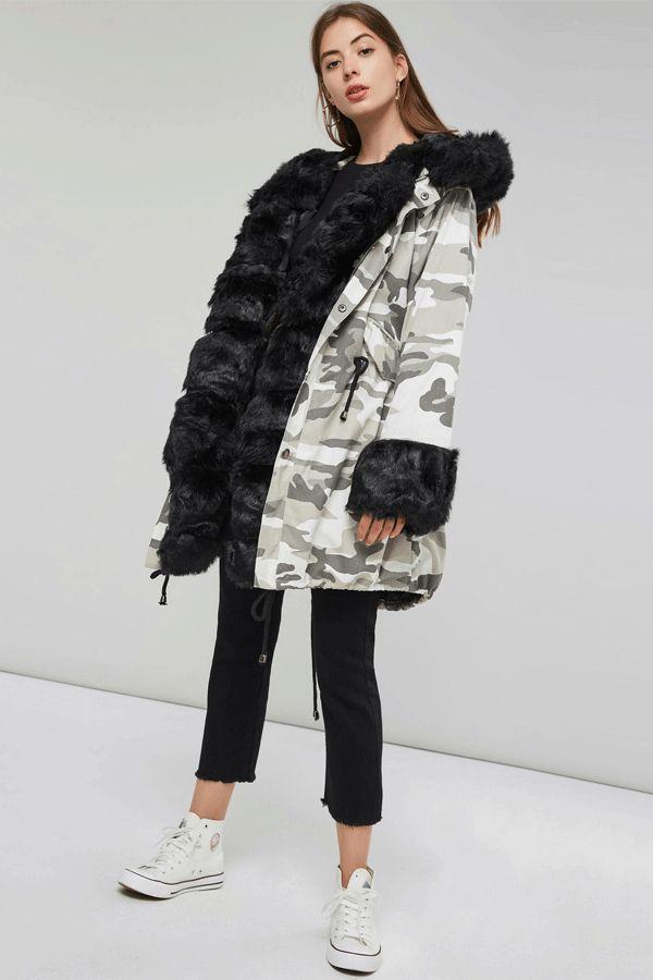 2dccb3374f543 Ericdress Fur Camouflage Mid-Length Hooded Coat#coat #fall#winter#overgarments