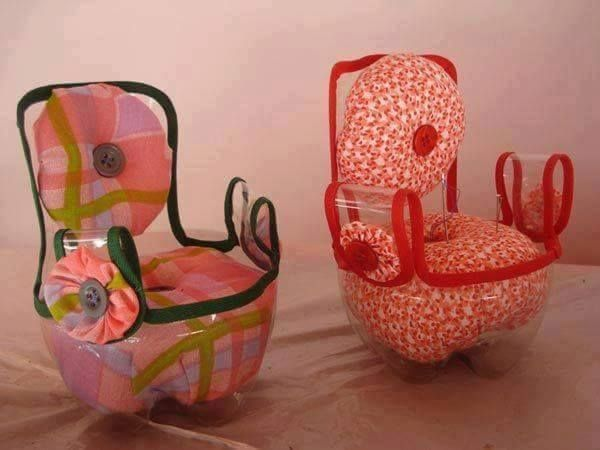 Doll Chairs made from soda bottles.