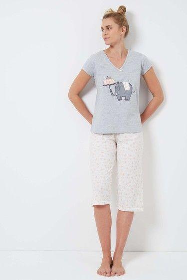Grey Elephant Cotton Jersey Pyjama Set