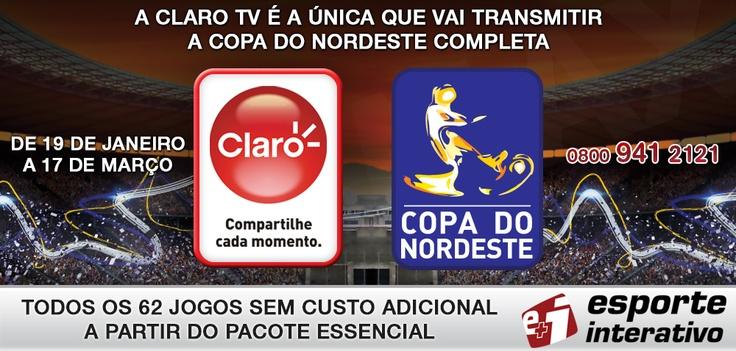 Exclusivo! A Claro TV é a única TV por assinatura a transmitir a Copa do Nordeste.     Gostou? Então é só curtir!    http://www.clarotv.br.com/