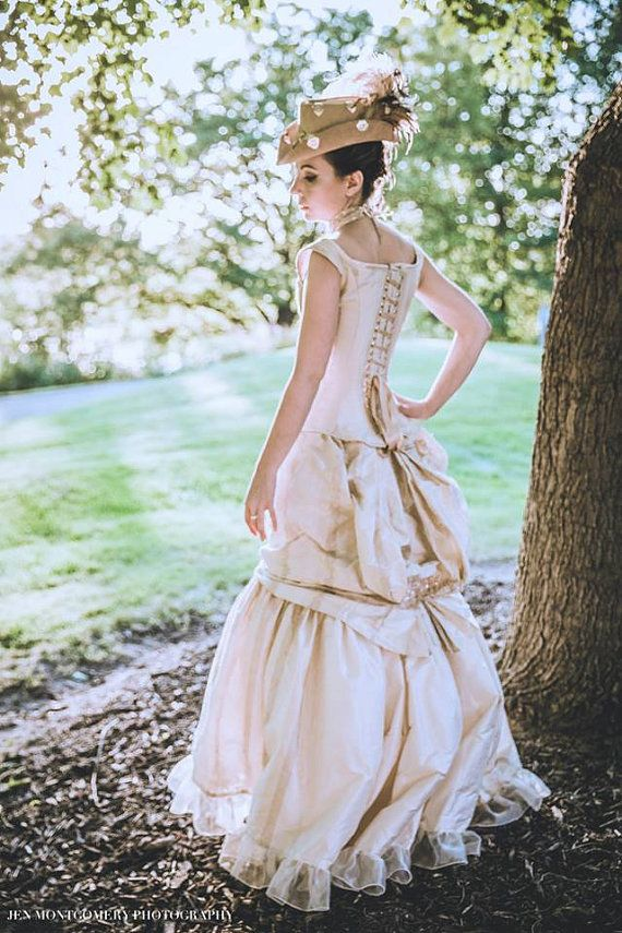 Victorian Bustle Gown Steampunk Wedding Dress Off the Shoulder Corset Dress Custom to Any Size