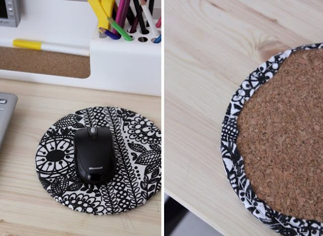 DIY mousepad. I gotta try that. You can use any fabric you fancy. #mousepad #diy