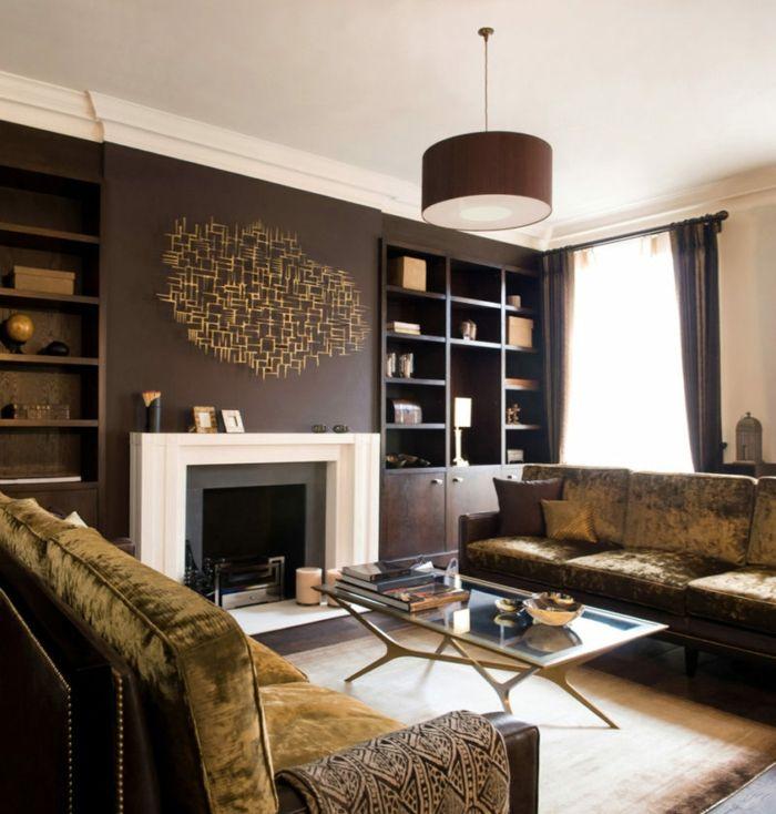 1001 Idees D Interieurs Et D Amenagement En Couleur Wenge Salon Marron Decoration Salon Marron Idee Peinture Salon