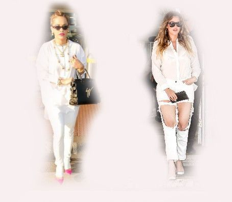 white outfit, Rita Ora VS Khloe Kardashian Odom fashion diva who-wore-it-better celeb celebrity