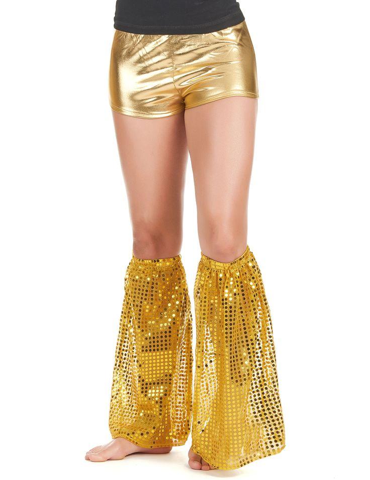 Gambali a paillettes dorati adulto: Questi gambali per adulto sono di tessuto di color oro ricoperti da paillettes dorate.Misurano 40 cm di altezza.Perfetti in occasione di feste o serate a tema disco.