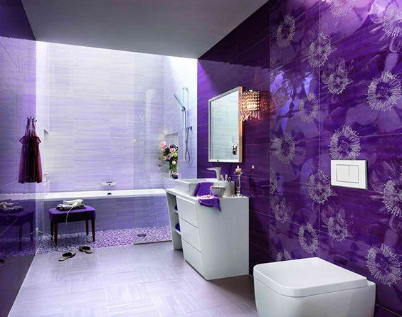 Captivating Purple Bath Tile: Cool Bathroom Tile Designs By Fap : Beautiful Bathroom  Tile Design From Fap With White And Purple Wall Color Closet Wash Basin  Towel ... Images