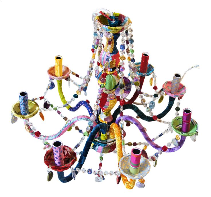 Multicoloured Chandelier from Squint.  A room is like a stage. If you see it without lighting, it can be the coldest place in the world. Paul Lynde