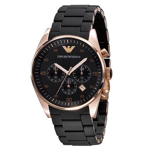 Emporio Armani Men's AR5905 Black Stainless-Steel Analog Quartz Watch with Black Dial