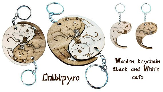 Black and White cat keychain laser   #chibipyro #artisan #craft #shop #leather #wood #woodburning #fire #fan #art #artisan #craft #handmade #etsy #shop #pyro #pyrography #burn #burning #fire #drawing #woodburner #cork #recycled #purse #comb #hairbrush #note #book #sketch #tobacco #pouch #bookmark #pochette #box #pencil #case #pendant #keychain #fox #cat #animal #kawaii