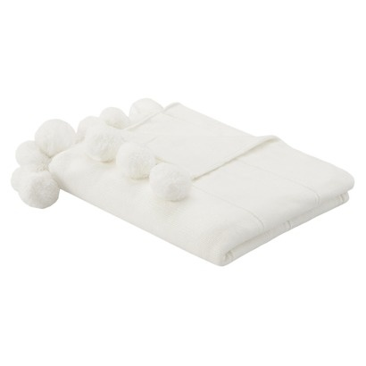 I saw this in person, super cute!  Threshold White Knit Throw with Poms