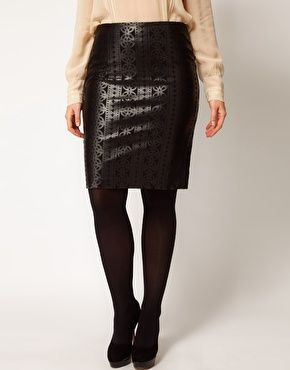 ASOS CURVE Pencil Skirt With Laser Cut Detail