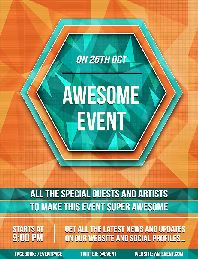 create a bright geometric event flyer in photoshop