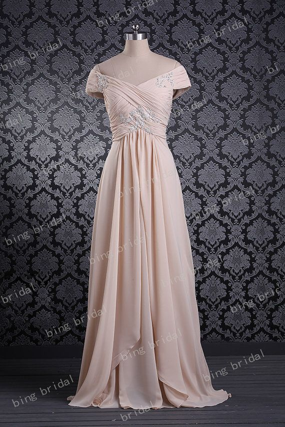 New Arriival A Line Cap Sleeve Floor Length Chiffon Long
