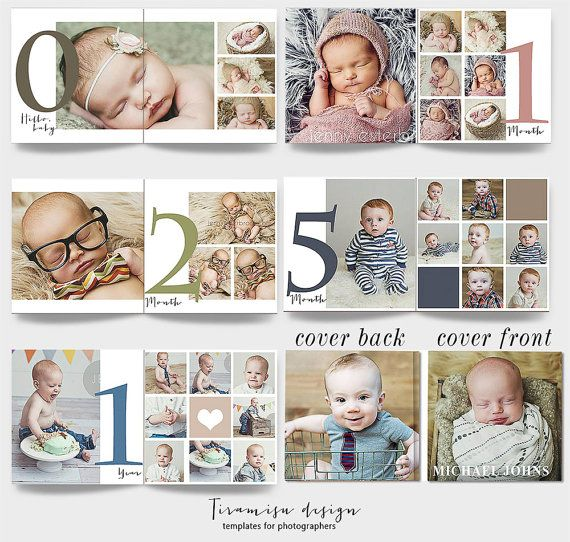 Photo Album Examples: 12x12 Baby Album Photoshop Template, Newborn Photo Album