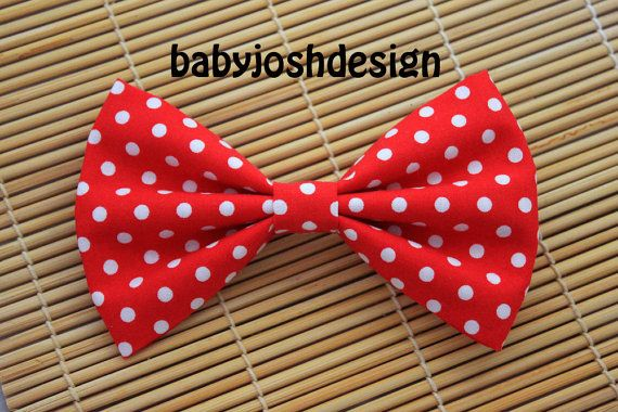 Red Dots Fabric Hair bow for teens or womengirls by babyjoshdesign, $4.49