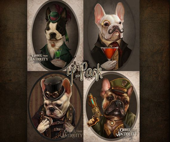 NEW Collector's Steampunk French Bulldogs by OdderThanAntiquity, $20.00