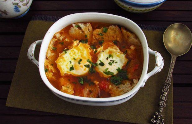 This Portuguese tomato soup with poached eggs recipe is nutritious, tasty and easy to prepare.