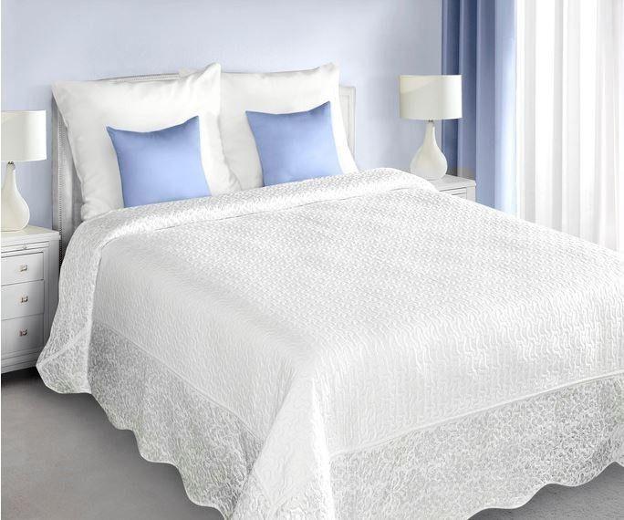 Přehoz na postel CARSON - bílý - šedý, 220x240cm, dvojlůžkový | Internetový obchod Chci POVLEČENÍ.cz