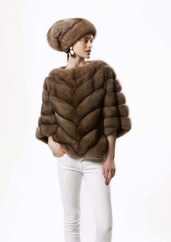 Giuliana Teso Sable Fur Poncho and Hat