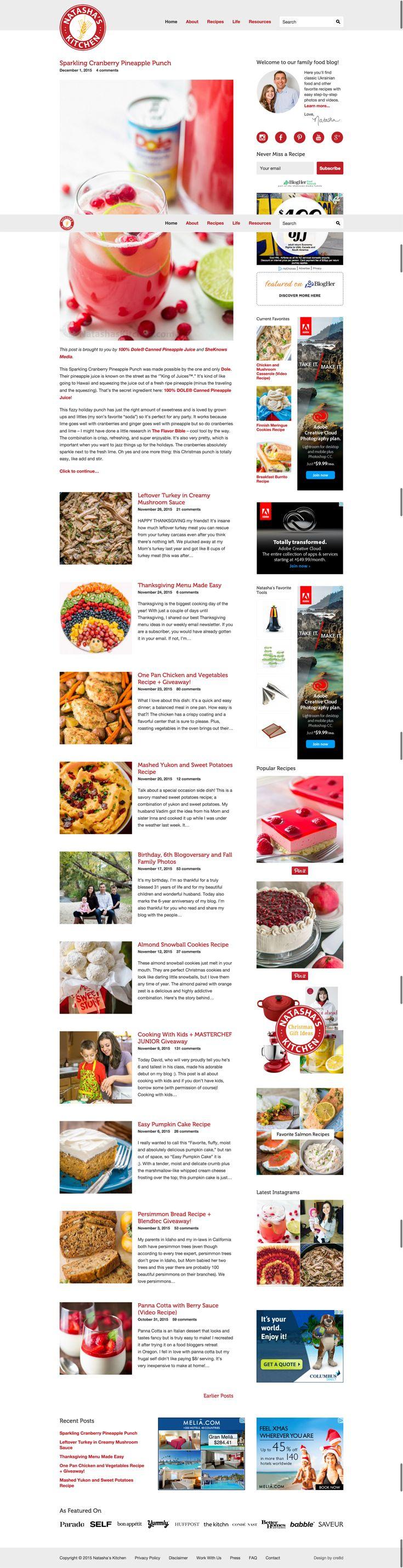 60 best food blog designs images on pinterest blog designs blog gorgeous creative food blog design for natashas kitchen custom wordpress theme designed by cre8d design forumfinder Images