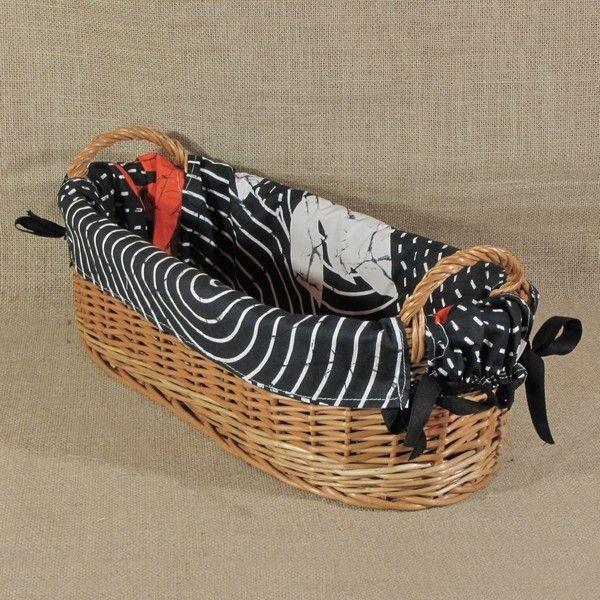 Koszyk z uszkami obszyty materiałem wzór - TRENDIG RYBY
