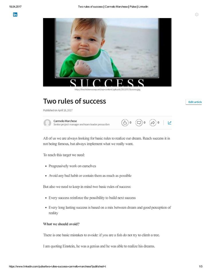 2 rules of success