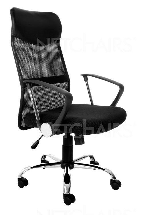 Cadeira Escritório Presidente Tela Mesh Giratória com Rodinhas, Reclinável, Função Relax, Base Cromada e Regulagem de Altura a Gás - 6736